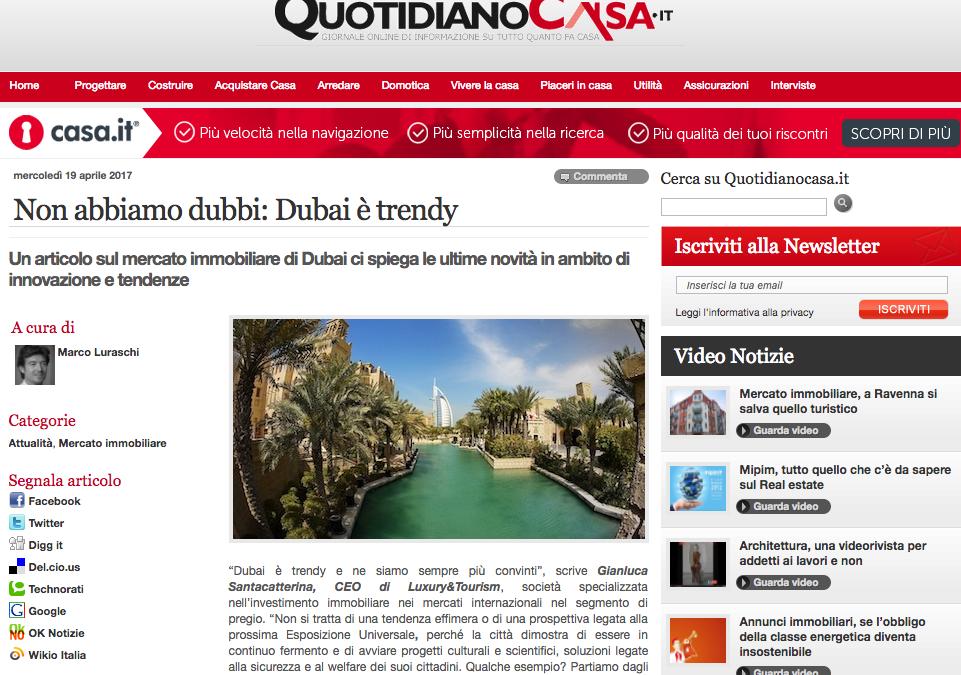 19 Aprile 2017 – Luxury&Tourism su Quotidiano Casa
