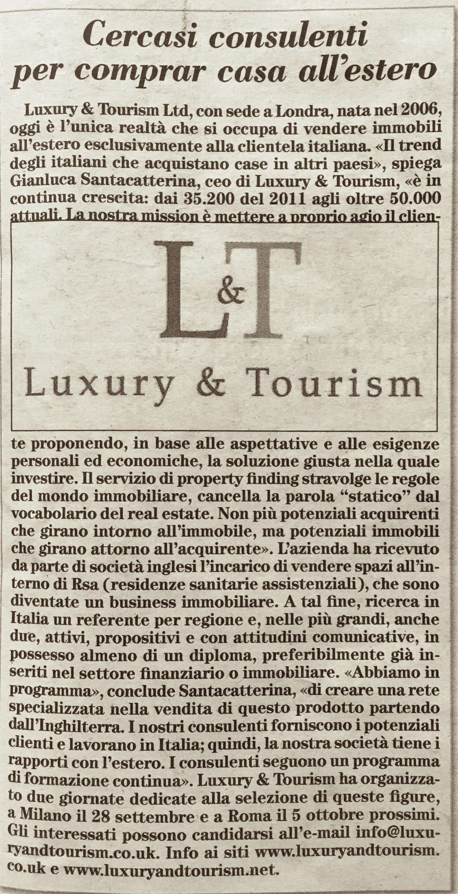 Luxury&Tourism su ItaliaOggi Sette