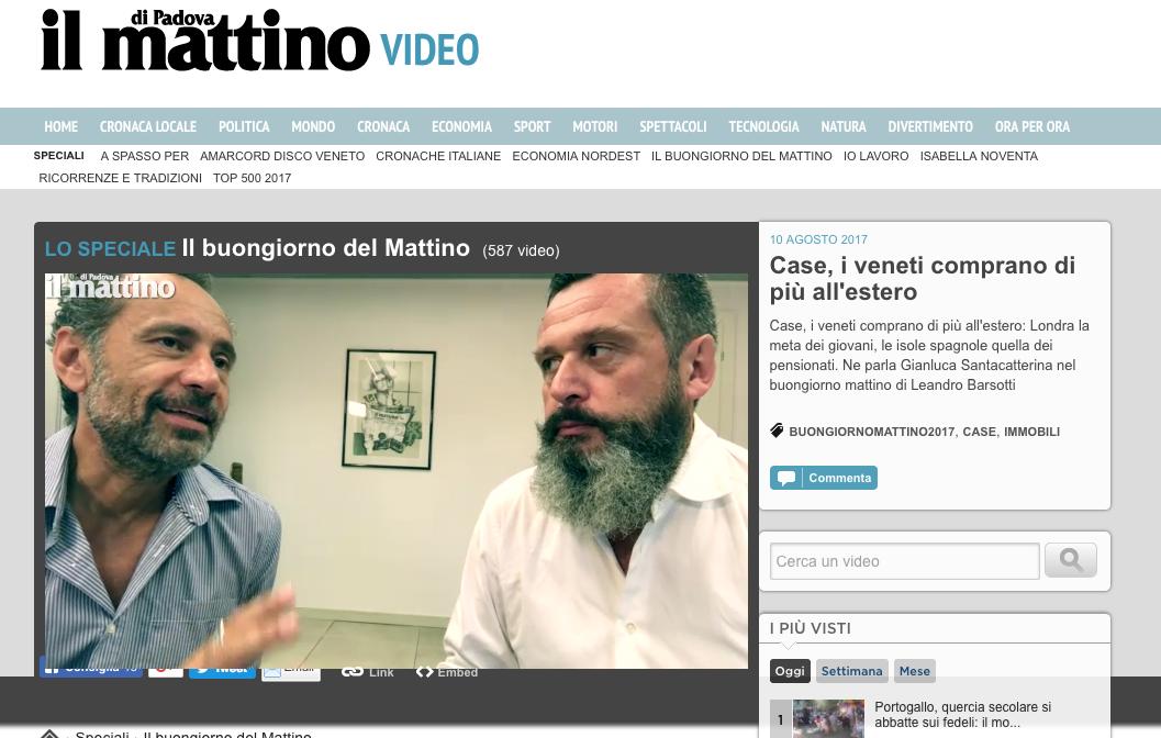 10 Agosto 2017 Gianluca Santacatterina intervistato da Il Mattino di Padova